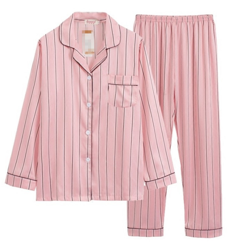 Pink Striped Pajamas Silk Satin Femme Pajama Set Stitch Full Trousers Lady Two Piece Women Sleepwear Pjs