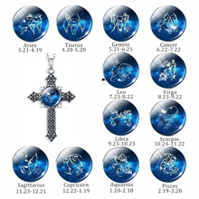 Cross Necklace Twelve Constellations Blue Glass Cabochon Pendants Zodiacal Sign Silver Christian Jewelry