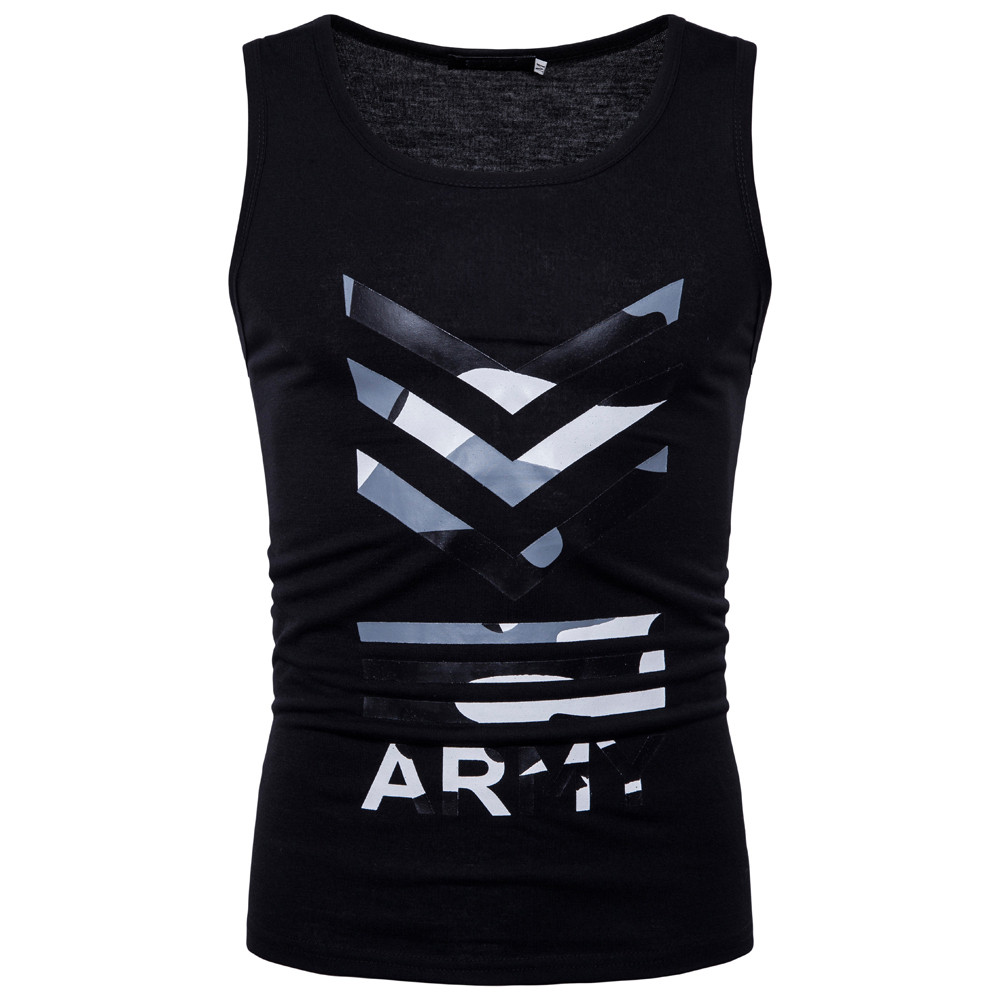 New Hot Fashion Mens Casual Printed Letters O Neck Sleeveless T-shirt Top Vest Blouse For Male Wholesale Drop Shipping