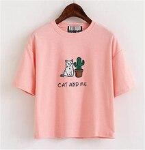 Women Cotton T-shirt Embroidery Cat Cactus