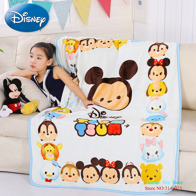 Disney 140X100CM Cartoon Pink Elsa Minnie Mickey Mouse Soft Flannel Blanket Throw For Girls Children On Bed Sofa Couch Kids Gift