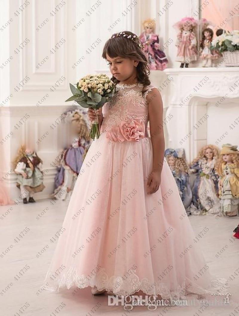 2019 Pink   flower     girl     dresses   for weddings lace vestido primera comunion 2-14 ivory lace   flower     girl     dress