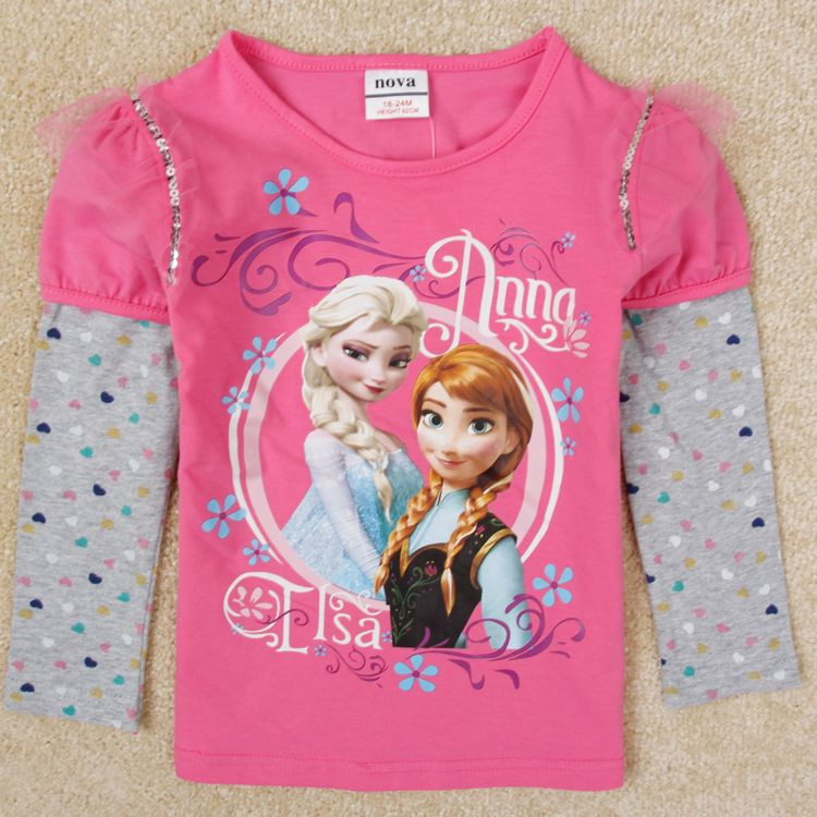 Childrens Clothes Baby Girl Top 15 6 Years Old Frozen T Shirt For Baby Girls ,Frozen Top -6767