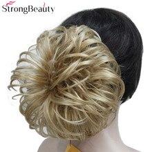 Сильная красота поддельные волосы шиньон булочка синтетические короткие светлые черные цветочные шиньоны для наращивания волос
