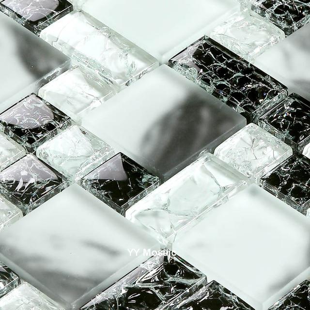 Schwarz Weiß Handgemalte Kristallglas Mosaik Fliesen Für Küche Backsplash  Wohnzimmer TV Hintergrund Taille Linie DIY Tapete