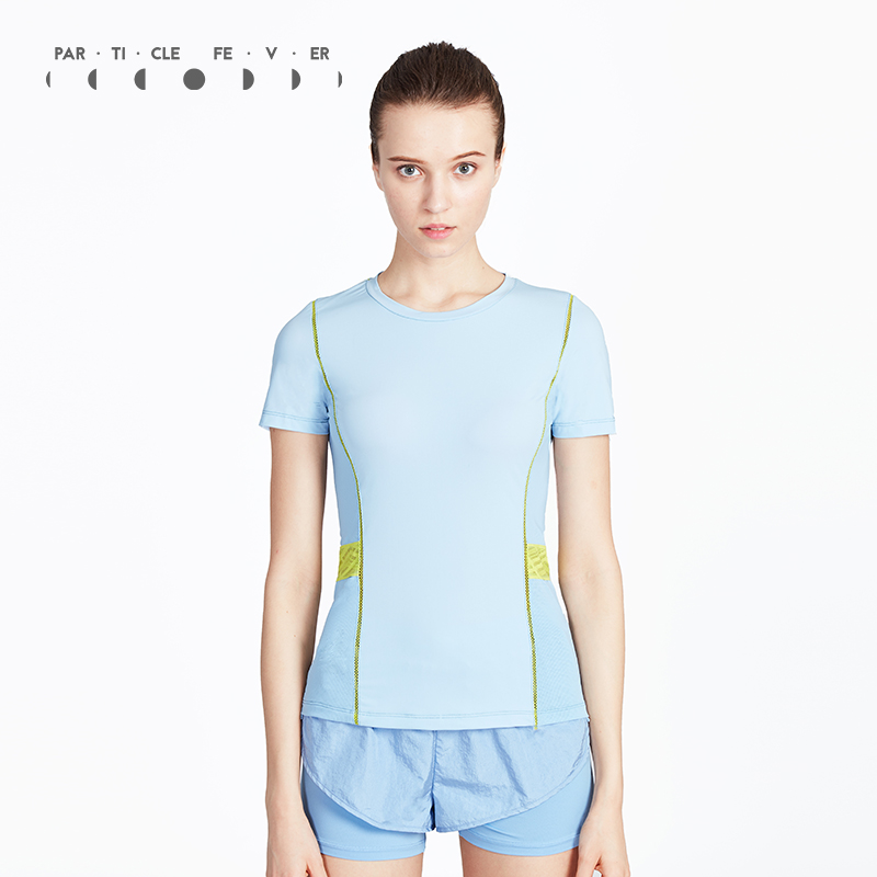 Particle Fever Light Blue O Neck Fitness T Shirt Breathable Yoga Short Sleeve Running Top Lace Training Clothing For Women