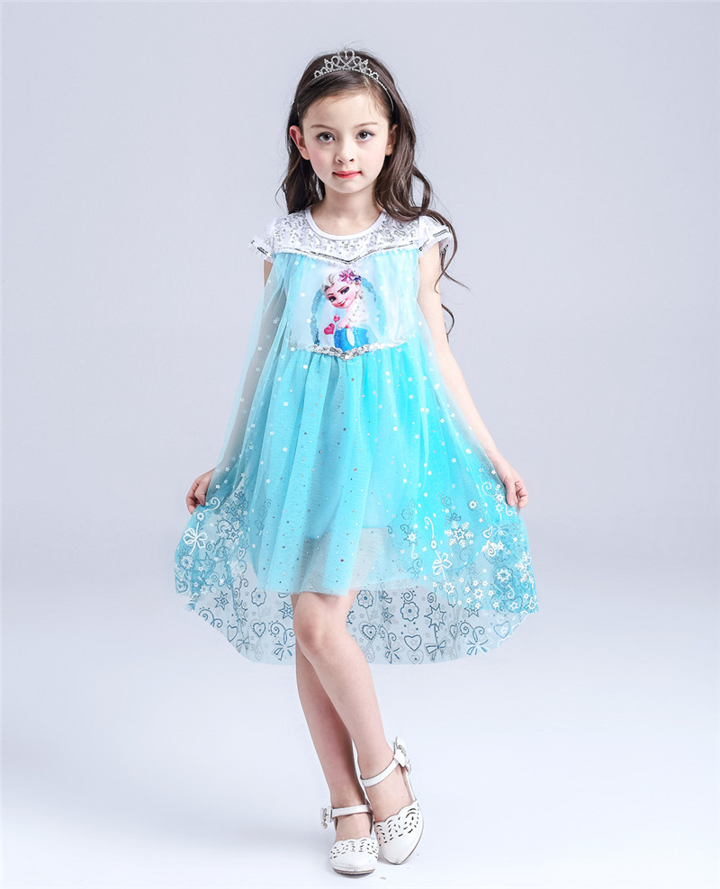 Blue Pink Elsa Children Princess Dresses  Party Costume For Girls