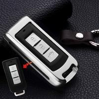 1 шт. 3 Пуговицы серебро Алюминий сплав Smart Remote Ключи Чехол протектор для Mitsubishi Outlander Lancer EX ASX Pajero
