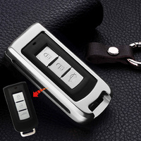 Aluminum Car Key Case Cover For Mitsubishi Outlander 2016 2013 Lancer 9 10 Pajero Sport ASX
