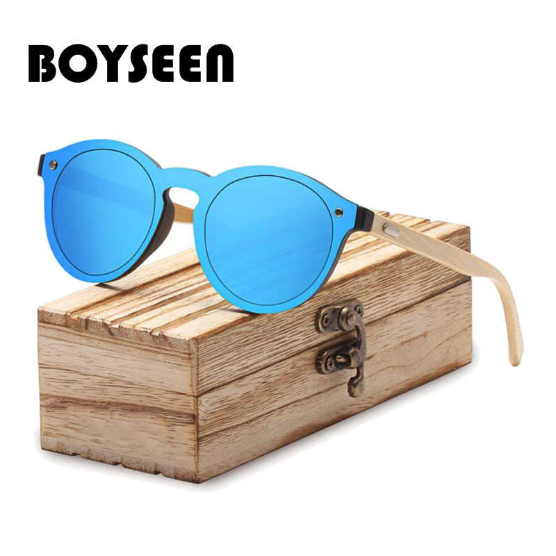 6f80ecdc66 BOYSEEN Retro Wood Sunglasses Men Bamboo Sunglass Women Brand Design Sport  Goggles Gold Mirror Sun Glasses