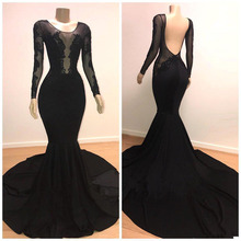 Black Sexy Illusion Bodices Long Sleeves Mermaid Prom Dresses Lace Appliqued Backless Formal Evening Gowns Satin Party Dres