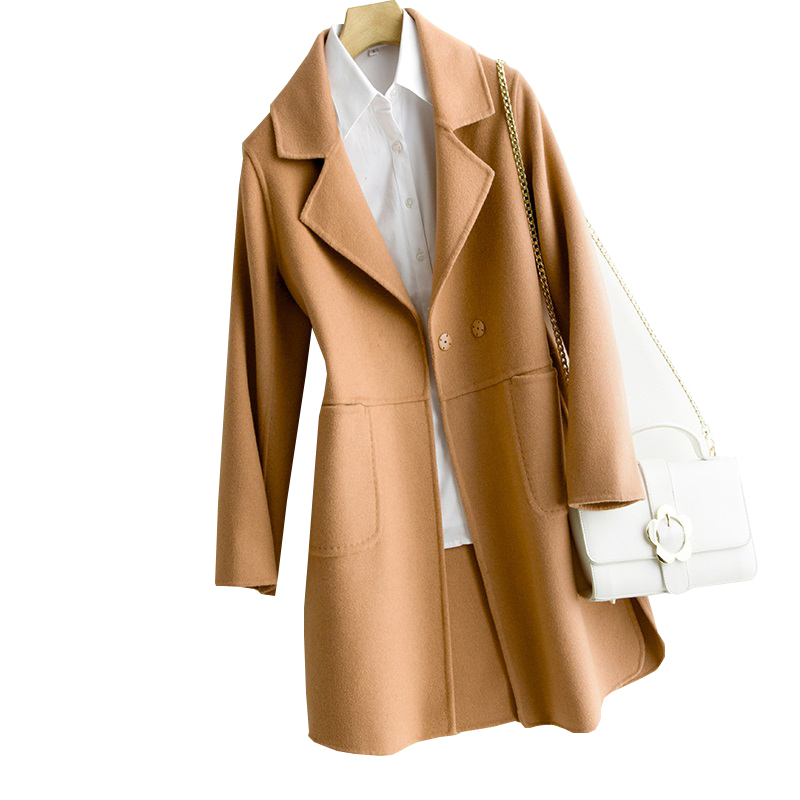 2019 New Autumn Winter Natural Wool Coats Ladies Handmade Double sided Cashmere Wool 100% Slim Jacket Vintage Long Coats