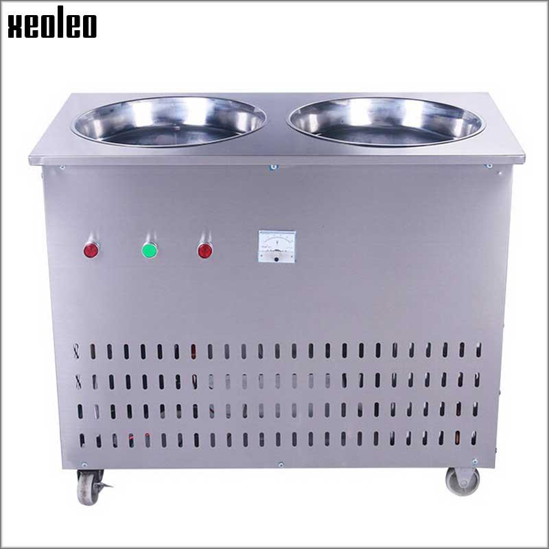 Xeoleo Commercial Ice Fried Machine Double Pan Ice cream Fryed Machine Yogurt Fried Machine Fry Ice Machine Fried yogurt 1800W