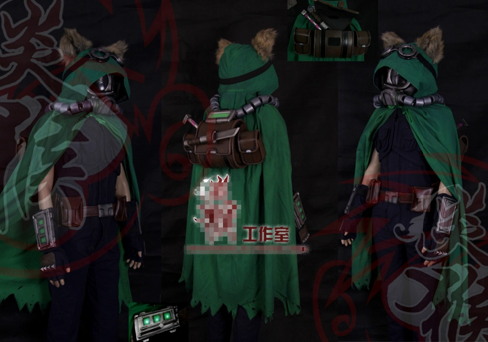 LOL Teemo Ghost Agents Customized Uniforms Cosplay Costume Free Shipping + Weapon