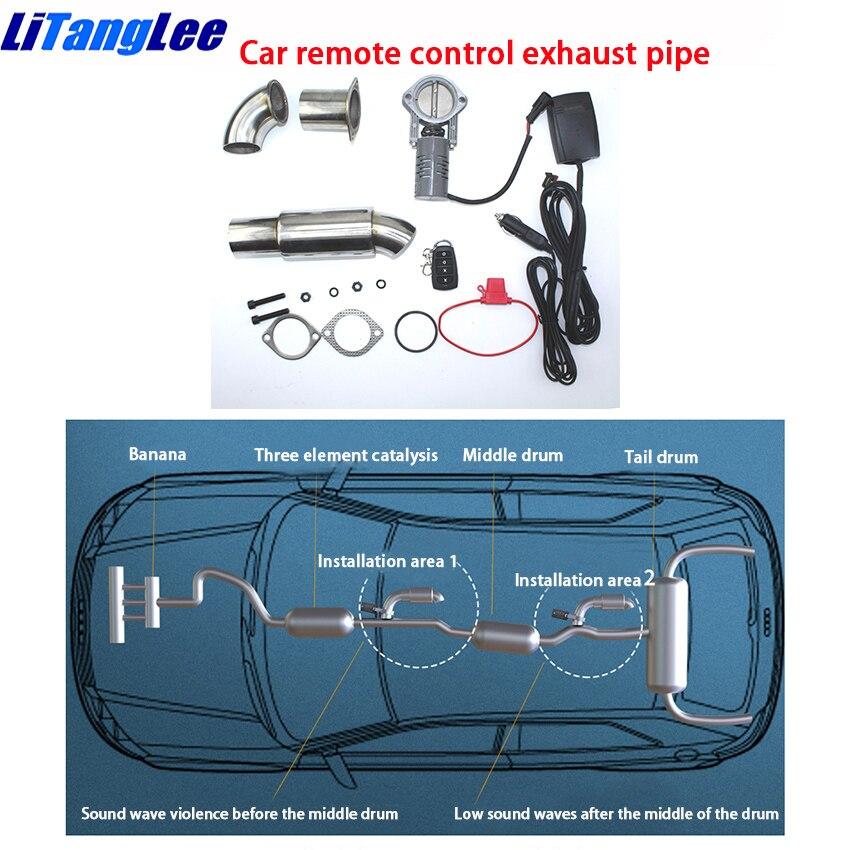 LiTangLee voiture télécommande tuyau d'échappement sport voiture son acier inoxydable électrique échappement découpe pour Porsche Cayenne PO536