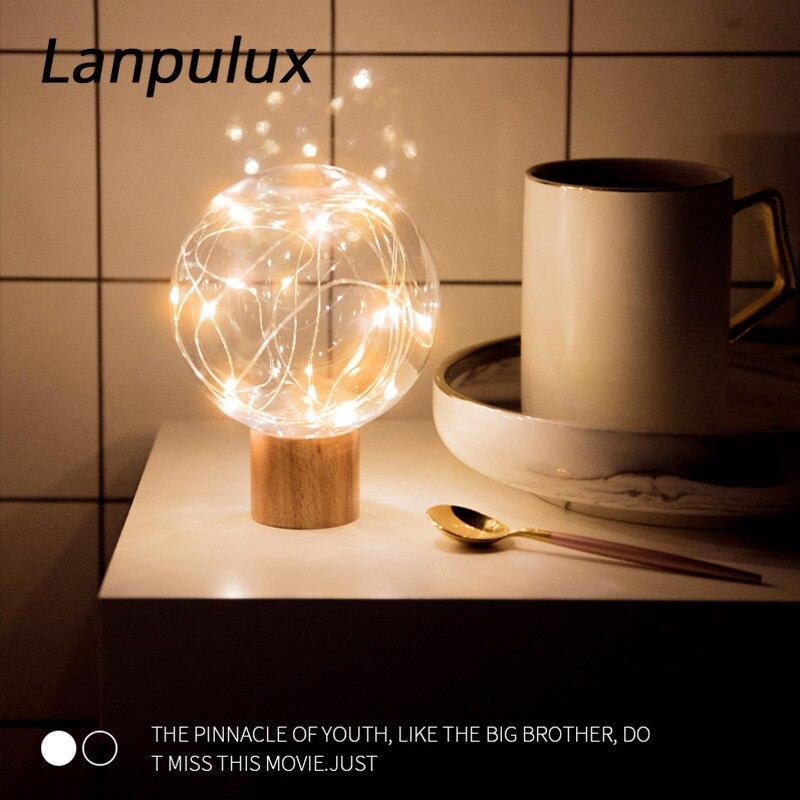 Lámpara de mesa redonda con Base de madera y luz nocturna de ambiente Lanpulux, lámpara de estrella con proyección marina, decoración romántica, Luminaria Fiesta de aniversario de regalo de San Valentín de cristal Artificial romántico de flores eternas de Rosa simulada