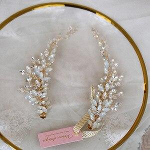 Заколка для волос кристаллы le liin, 1 шт., Золотая заколка для волос, украшения для волос, свадебное украшение для волос