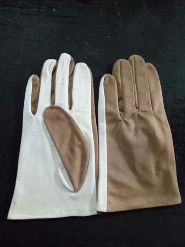 Натуральная замша игровой браслет из деревянных бусин перчатки толстые оленьей кожи Перфорированные дышащие белые кожаные перчатки S73 - Цвет: Suede stitching
