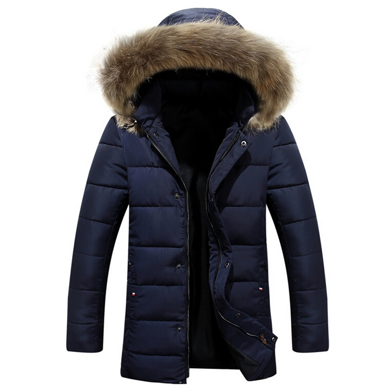 New Winter Men's Wadded Jacket Faux Fur Hat Long Fashion Cotton-padded Clothes Hooded Jacket Casual Outerwear Warm coat M-3XL