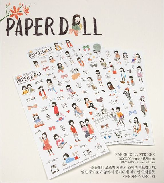 a551c7e72f59e 6 Sheets Pack PONY BROWN Paper Doll Pencil Drawing girl Style PVC  Scrapbooking Lable Stickers