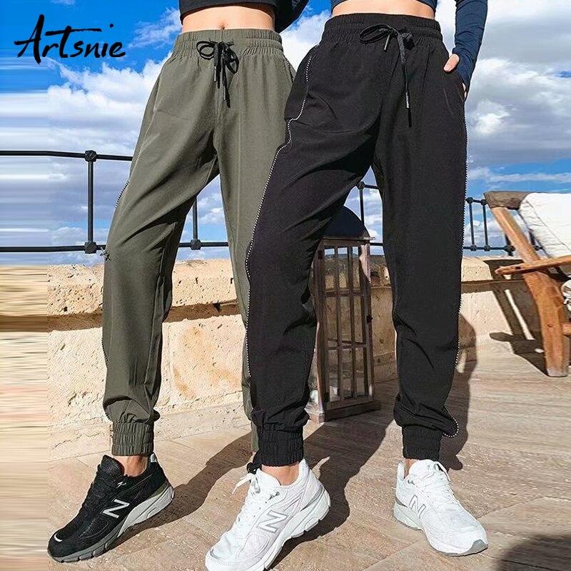 Artsnie Elastic High Waist Casual Women Pants Spring 2019 Side Striped Streetwear Running Biker Sweatpant Pencil Pants Trousers