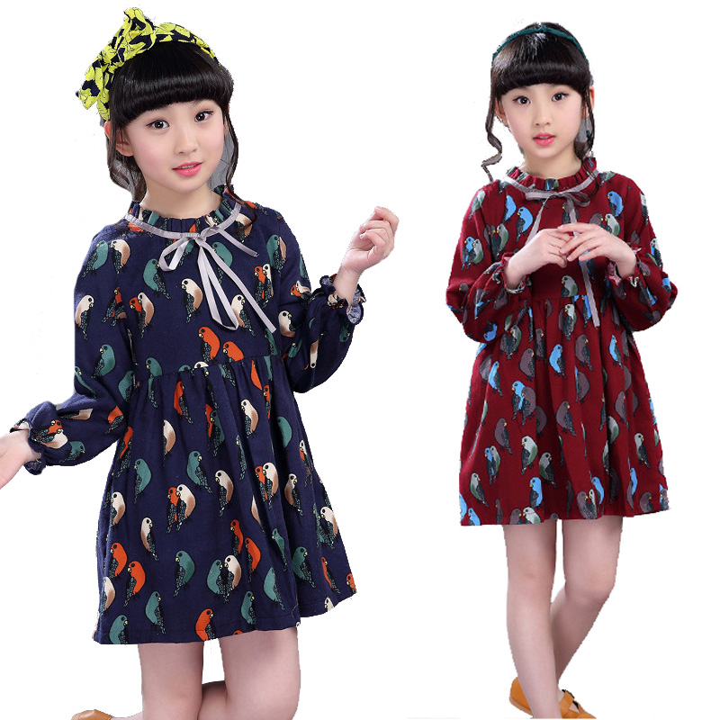 Kids Dresses For Girls Vestidos Long Sleeve Cartoon Birds Girls Dresses Preppy Style Princess Party Dress 4 5 6 8 9 10 12 Years girls princess party dresses 4 long sleeve striped kids dresses for girls 6 preppy style bottoming dress 8 ball gowns 10 12years
