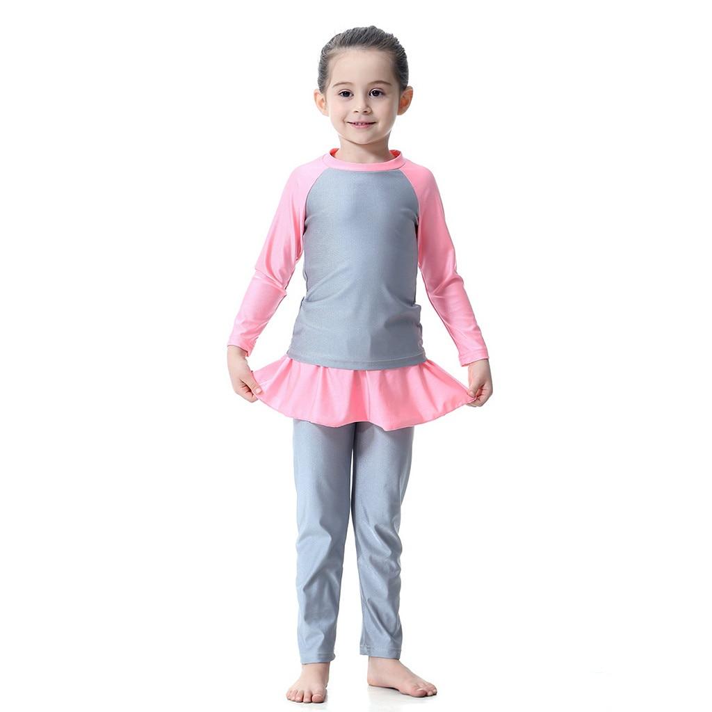 TELOTUNY/3 предмета, Быстросохнущий купальный костюм для маленьких девочек Купальник с длинным рукавом, купальный костюм для купания Z0102 - Цвет: GY