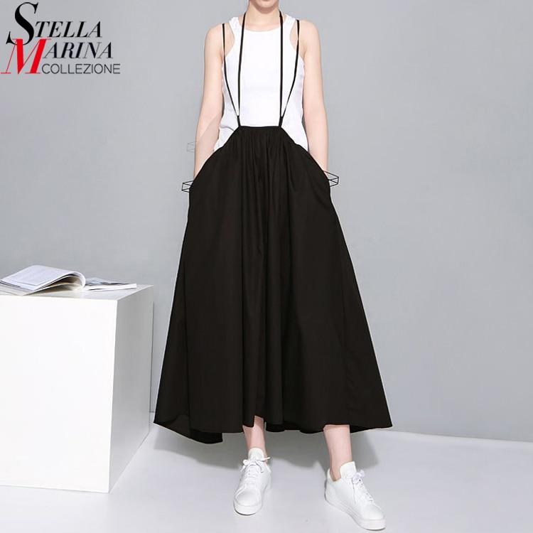2019 Summer Women Black Long Maxi Skirt Elastic Waist Pleated Infinite Skirt Convertible Girls Loose Casual Suspender Skirt 1388