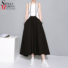 2020 Summer Women Black Long Maxi Skirt Elastic Waist Pleated Infinite Skirt Convertible Girls Loose Casual