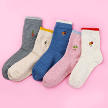 1 Pair Cotton Socks For Women Embroidery Cactus Mushroom Small Pattern Hipster Skateboard Funny Personality Female