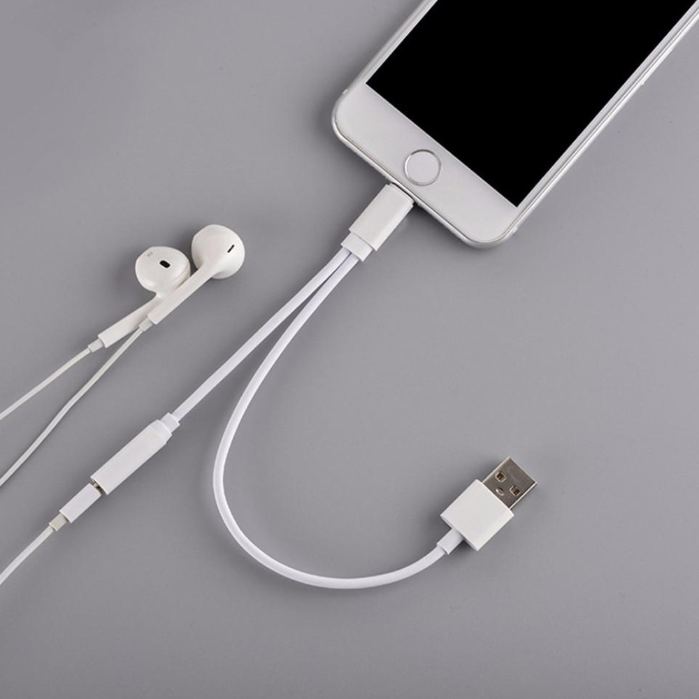 2 in 1 Earphone charging cable for iphone 7/7plus Charging 3.5MM Headphone Headset Jack Charger Earphone Cable