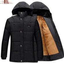 Mens Thick Hooded Coat Outwear Parka Winter Cotton-Padded Jackets Male Fur Windbreaker Warm Coats Older Fleece Down Jacket Homme
