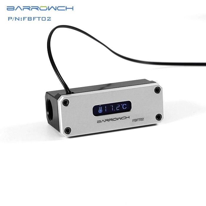 Barrowch FBFT02-V3, измеритель температуры охлаждения воды, многомодовый OLED цифровой смарт-дисплей, температура в реальном времени - Цвет лезвия: Silver Panel