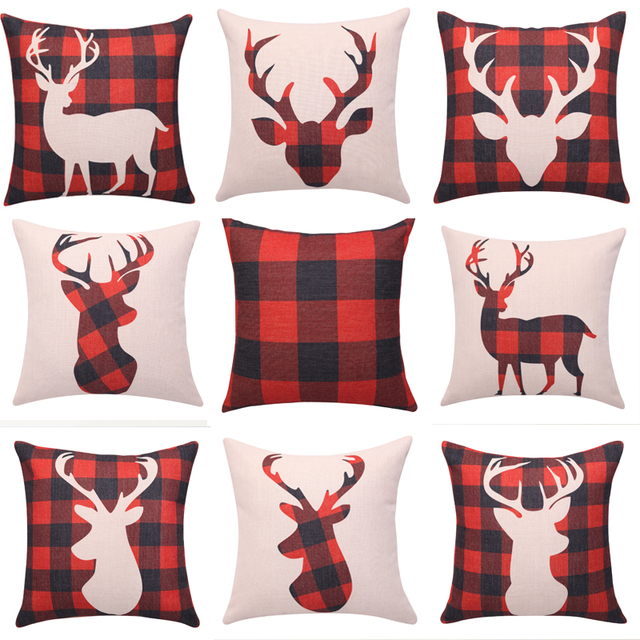buffalo plaid cushion covers deer head decorative pillow cases square linen throw pillow cover christmas sofa