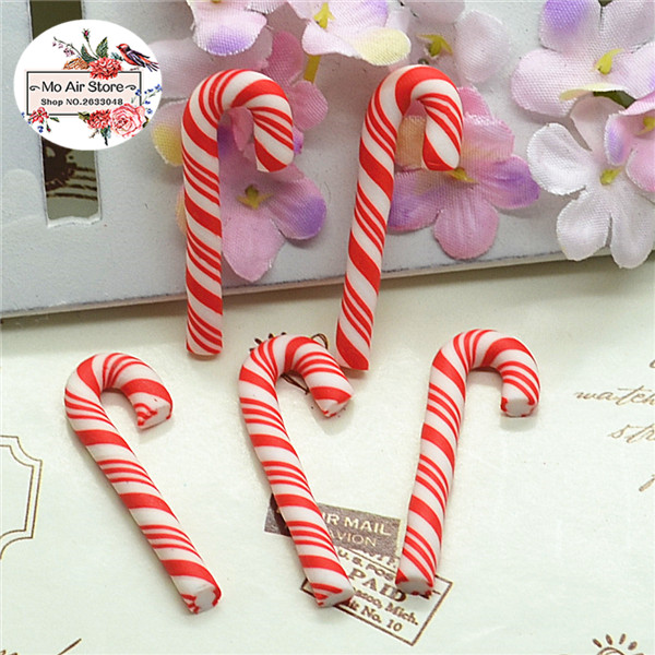 Lots 10pcs Red Christmas Candy Cane Flatback Resin Scrapbooking DIY Crafts