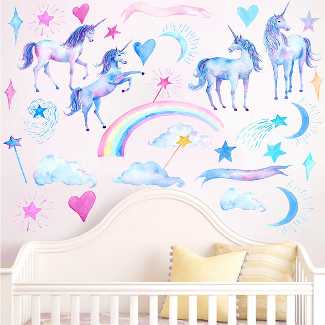 Unicorn wall stickers for bedroom living room decorative wall decals for kids