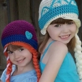 Fashion Lovely Children Hat Cartoon Princess Anna And Elsa Hat Handmade Crochet Kids Baby Girls Hat Cap Suitable For 0-6 years