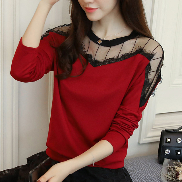 6d0fd5b3bff1e New 2018 Red black Open Shoulder Double Strap women tops Autumn Casual Cold  Shoulder Tops Long