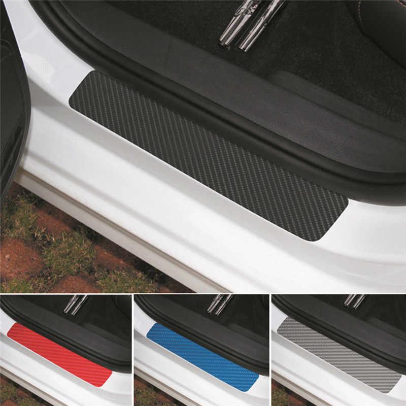 4pcs Car Auto Carbon Fiber Look Door Plate Sill Scuff Cover Sticker Anti Scratch