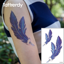 Waterproof Temporary Tattoo On Arm Peacock Blue Feather Women Water Transfer Fake Tattoos Flash C062 19x12cm Big On Body Paint