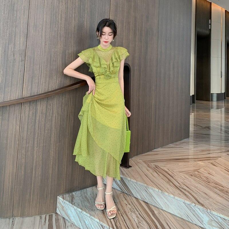 Haut de gamme femmes O cou point volants élégant en mousseline de soie robe d'été Sexy fête bureau robes Vestidos Vintage Bandage robe Vestidos