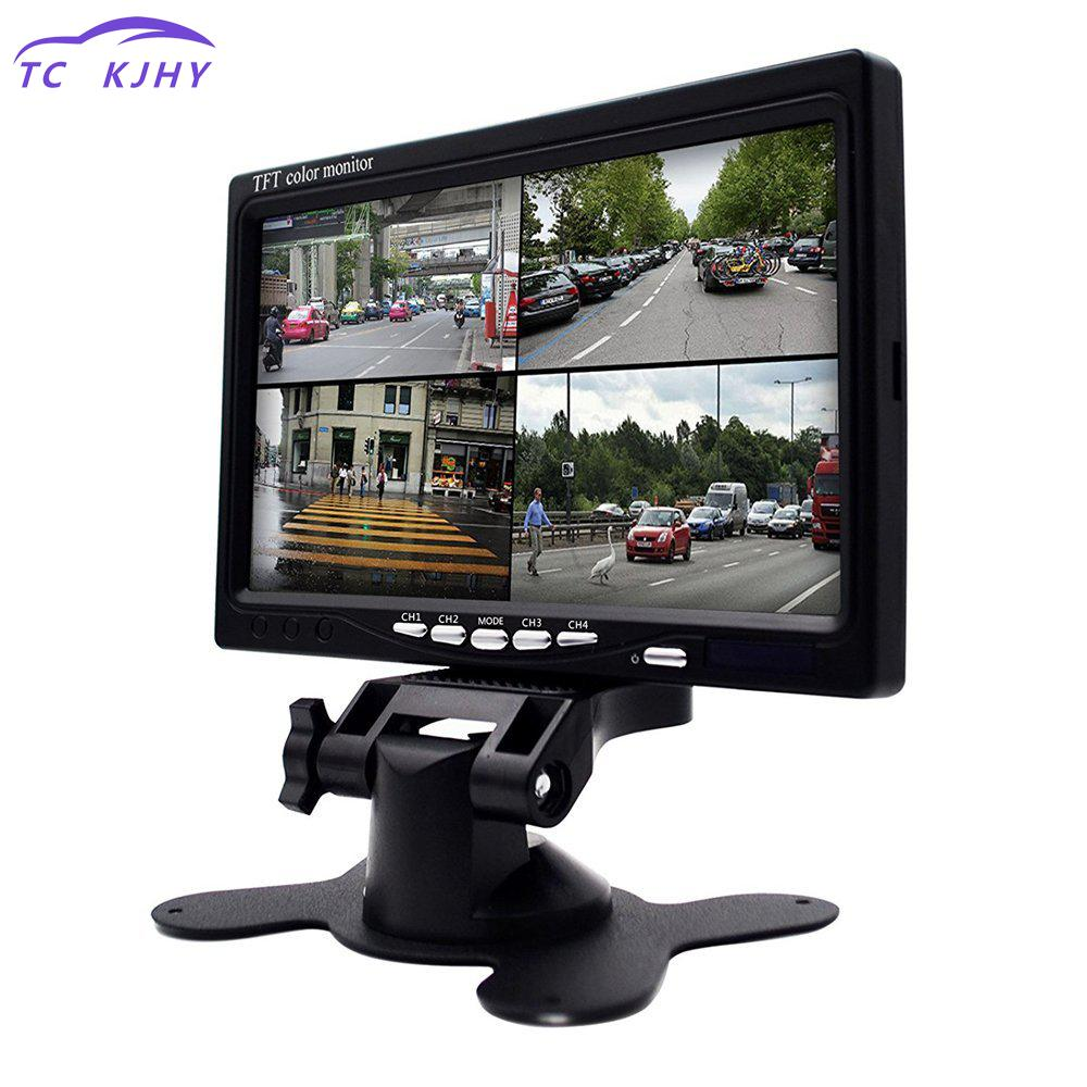 2018 Auto Car Rear View Camera Car-styling 7 Inch Split Screen Quad Monitor 4ch Video Input Windshield Style Parking Dashboard car rear view system 7inch tft colour quad 4ch video input car monitor for reverseing cctv car camera monitor