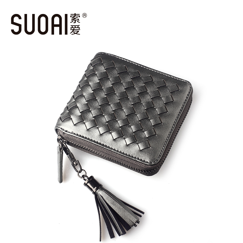 Fashion Brand Wallet 2018 SUOAI Women Short Knitting Pu Leather Purse Tassel Girls Small Wallet With Coin Pocket  Monedero japan anime pocket monster pokemon eevee cosplay wallet men women short purse leather pu coin bag