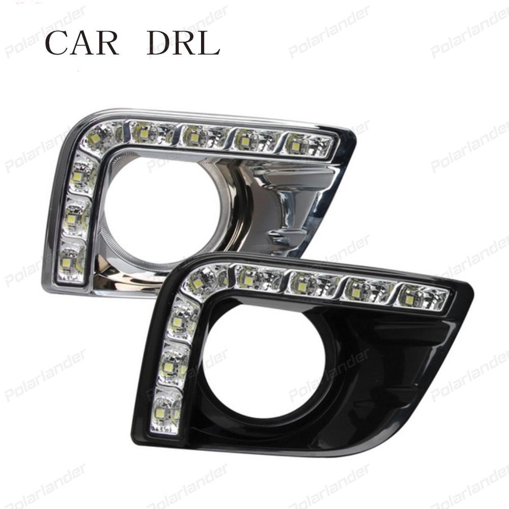 for T/oyota P/rado 2013-2014 car styling Car DRL front Fog Lamp Cover Daytime Running Light