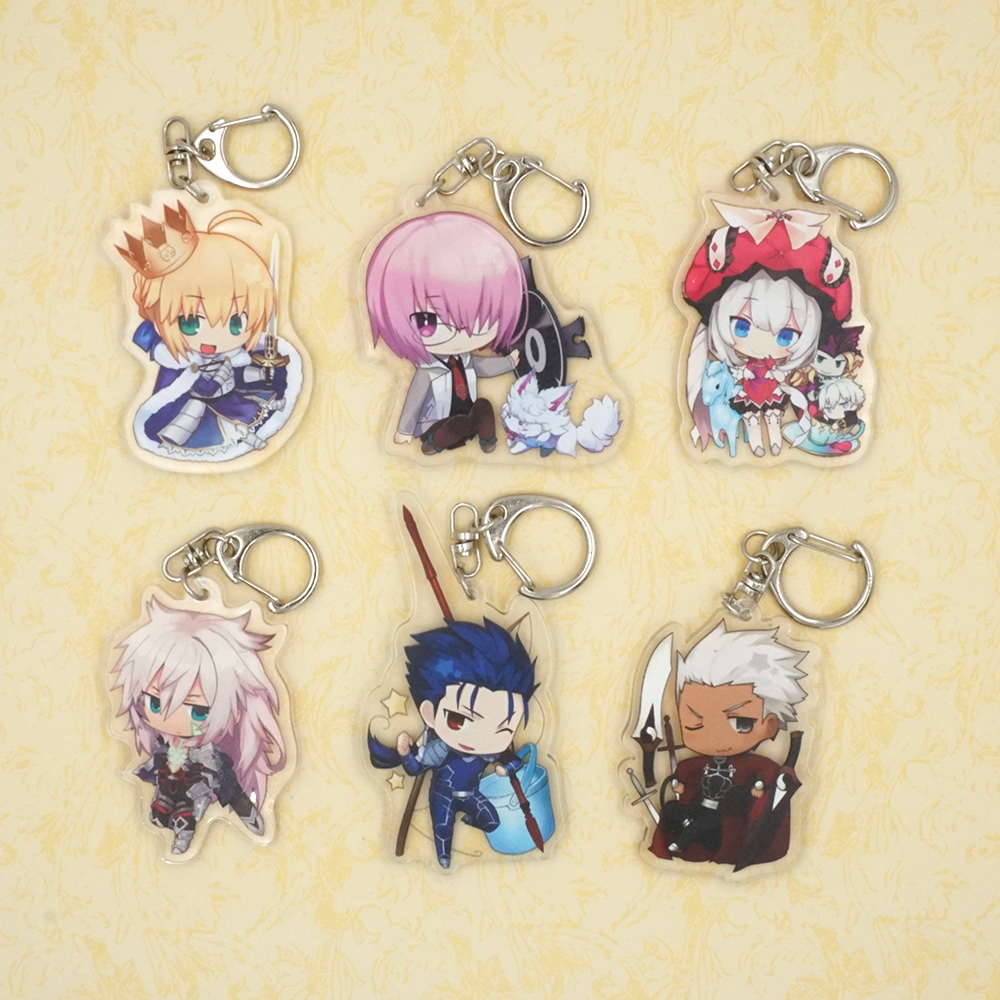 Fate Grand Order Anime Saber Cuchulainn Siegfried EMIYA Mash Kyrielight Acrylic Charm Japanese Keychain Pendant le fate топ