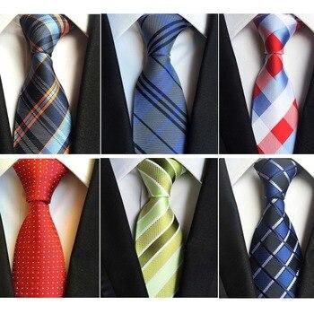 Men's Neckties Classic Striped & Plaid Ties 8cm Fashion Silk Jacquard Woven Green Neck Tie Business Red Wedding For Men new 7 5cm 100% jacquard woven silk tie for men plaid neckties man s neck tie for wedding business party factory sale