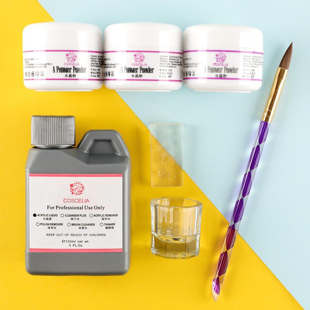 COSCELIA Acrylic Nail Kit Manicure Set Tools For Manicure 75/120ML Acrylic Liquid Set For Nail Set For Gel Varnish Acrylic Kit