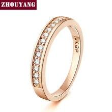 ZHOUYANG anillo de boda para las mujeres amante clásico Micro-Inserta Zirconia cúbico boda anillo de compromiso de oro rosa joyería de Color R062