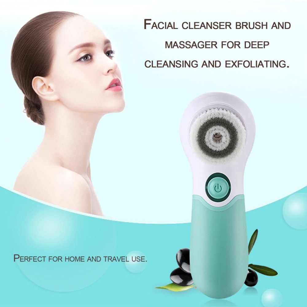 Facial Skin Cleaner Waterproof Electric Facial Cleansing Spin Brush with 3 Heads for Exfoliating Removing Blackhead Skin Cleaner deep face cleansing brush facial cleanser 2 speeds electric face wash machine