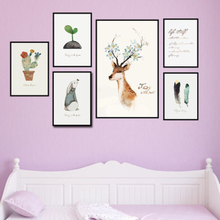 Plant Buds Cactus Rabbit Deer Wall Art Canvas Painting Nordic Style Poster Pictures For Living Room Home Decor